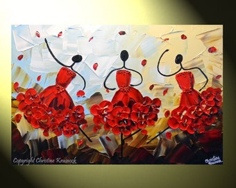 """CUSTOM Abstract Dancers Painting Red Dress Textured Palette Knife Painting, Contemporary Music Dance, Blue Brown Gold 36x24"""" -Christine"""