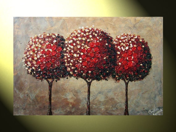 """Original Abstract Painting, Tree Painting, Modern Textured Painting, 24x36"""" Canvas, Red Autumn Trees, Fine Art, Palette Knife, by Christine"""