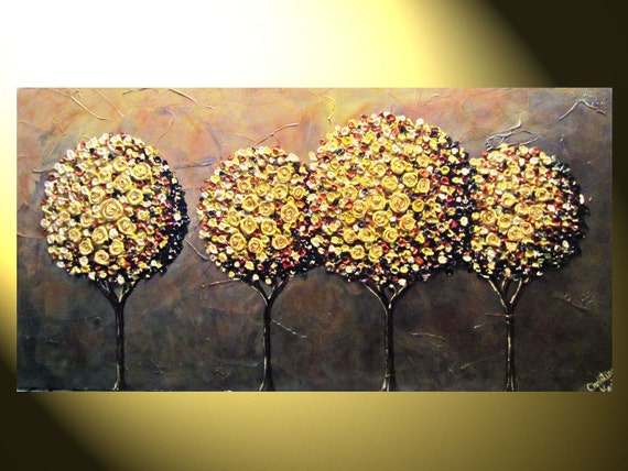"""Original Abstract Painting, Modern Textured Painting, Gold Autumn Tree Painting, Palette Knife, Home Decor, XL 48x24"""", by Christine"""