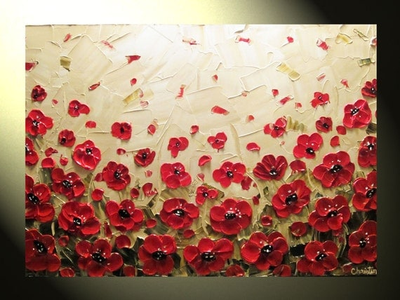 Original Abstract Textured Painting Red Poppy Painting