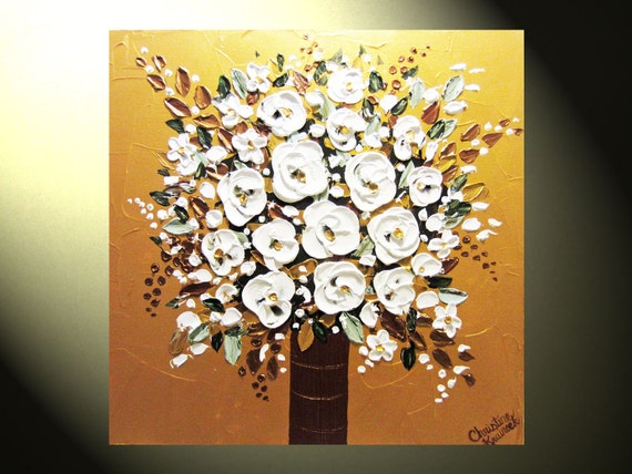 """Original Painting Abstract Painting, Textured Floral Impasto, Metallic Gold Bronze White Flower Painting, Palette Knife 24x24"""" -Christine"""