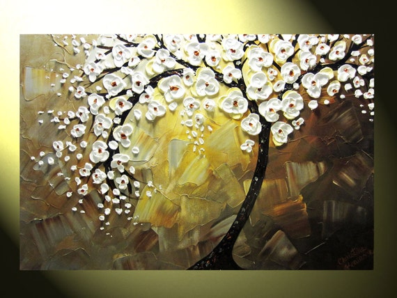 Original Abstract Tree Painting Textured Tree Of Life