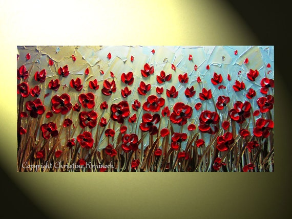 "Original Abstract Textured Painting, Red Poppies Floral Painting, Modern Flower Painting, Poppy Blue Gold Palette Knife, 24x48"" by Christine"