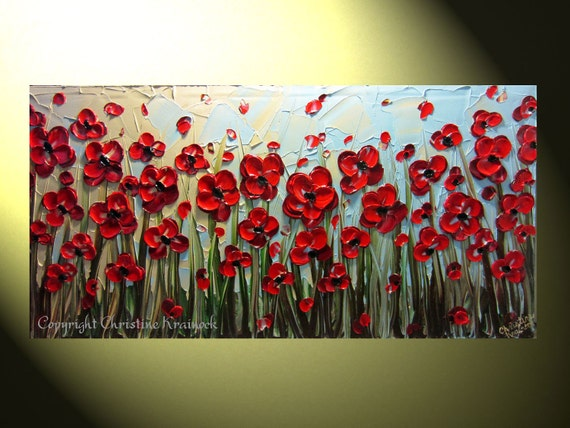 """Original Abstract Textured Painting, Red Poppies Floral Painting, Modern Spring Flower, Poppy Blue Gold Palette Knife, 24x48"""" by Christine"""