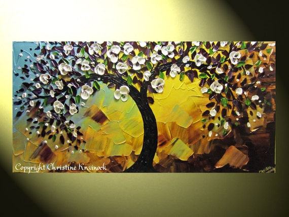 Original Abstract Textured Tree Painting, Tree of Life, Blossoming Plum Tree, White Purple Green Gold Spring Palette Knife 48x24 -Christine