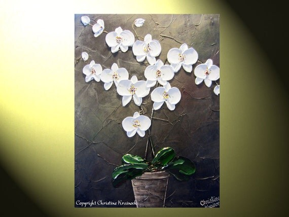 """Original Abstract Textured Floral Painting, White Orchids, Palette Knife, Modern Orchid Flower in Vase, Fine Art, 24x18"""" - by Christine"""