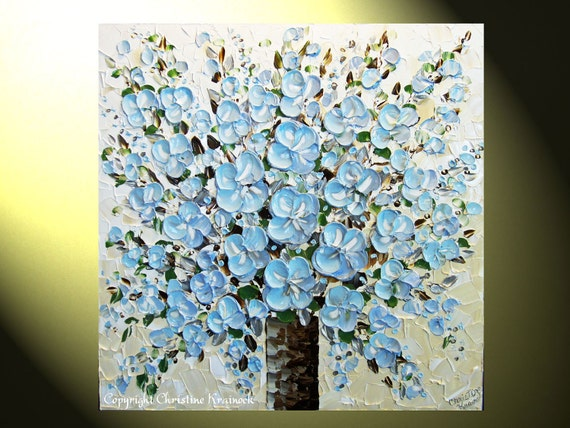 "Original Abstract Painting, Blue Flower Textured Palette Knife Large Modern Art, Blue Brown White, Floral Bouquet 30x30"" -Christine"