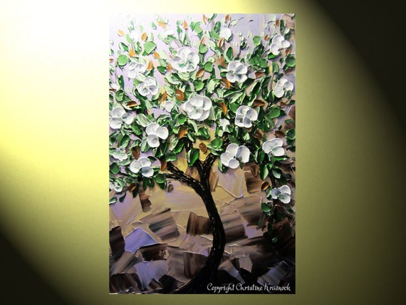 """Original Abstract Painting Tree White Flowers, Magnolia Tree, Textured Palette Knife, Purple Green Brown 25% SALE, 36x24"""" Christine"""