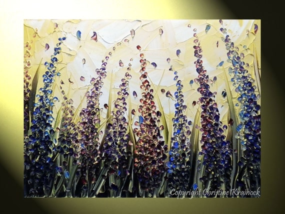 """Original Oil Painting Abstract Flowers Textured Modern Palette Knife Floral Hyacinth, Lavender Purple Gold, Fine Art, 24x18"""" - by Christine"""