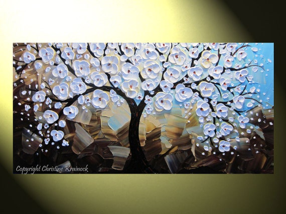 """Original Abstract Cherry Tree Painting, Blossoming Tree of Life, Modern White Floral Painting, Palette Knife, Blue Brown, 48x24"""" -Christine"""