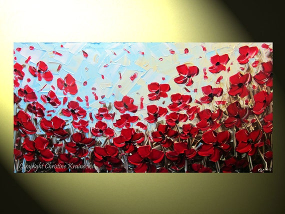 """Original Abstract Textured Red Poppy Painting, Flowers, Palette Knife, Poppies Blossoms Modern Red Blue Gold 24x48"""" -Christine"""