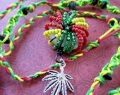 SALE Long Rastifarian Macrame Hemp Cannabis Necklace with Wire Wrapped Beaded Pendant
