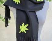 BLOWOUT SALE Black Fleece Scarf with Light Green Crocheted Cannabis Leaves