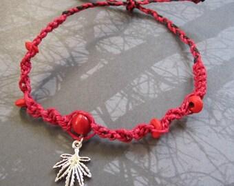 BLOWOUT SALE Red Hemp Cord Wood Bead Marijuana Bracelet    Medium - Large