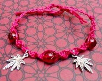 BLOWOUT SALE Red Hemp Cannabis Macrame Bracelet