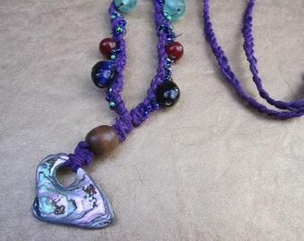 BLOWOUT SALE Purple Heavily Beaded Macrame Hemp Abalone Necklace