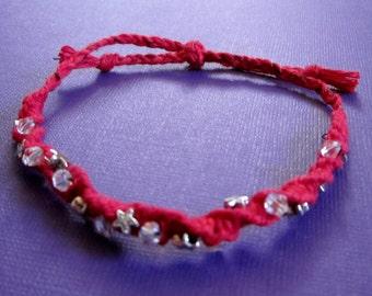 SALE Red Hemp Macrame Star Bracelet   M / L   or   XL Anklet