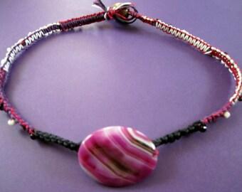 BLOWOUT SALE Brazil Purple Onyx Agate Pendant Bead Macrame Necklace