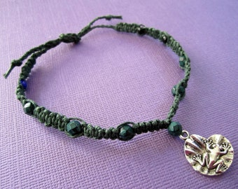 BLOWOUT SALE Frog Forest Green Hemp Macrame  Bracelet / Anklet