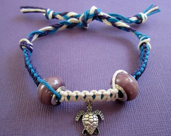 SALE Sterling Silver Purple Bead Turtle Blue and White Bracelet