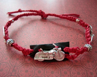 CLEARANCE SALE Red Hemp and LEATHER Motorcycle, Handcuffs and Brass Knuckles Macrame Bracelet