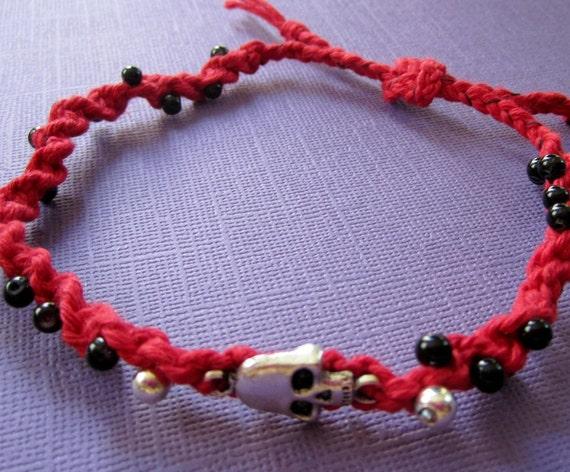 SALE Red Hemp Skull Macrame Anklet