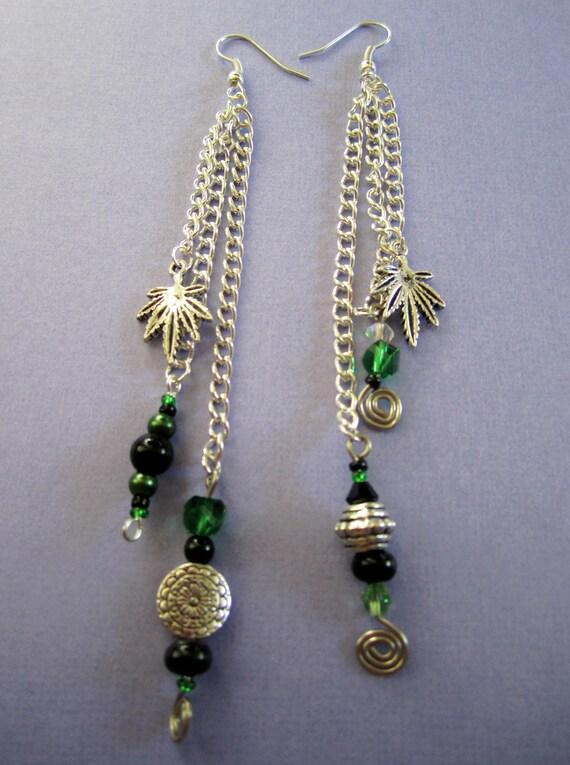 SALE Wire Swirl Green Dangle Cannabis Earrings  - one of a kind -