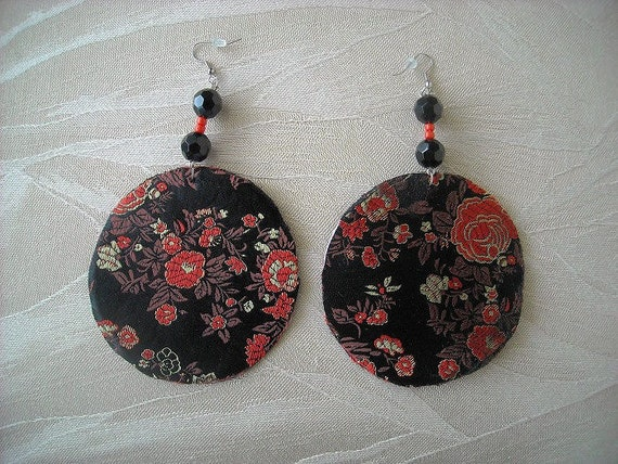 Black Floral Print Fabric Circle Earrings