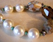 Pearl Babies Collection: Swarovski pearl, turquoise, jasper and smokey quartz bracelet