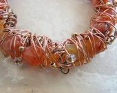 Red Agate bangle memory wire bracelet