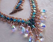 Tila bead and Swarovski crystal necklace - Emerald