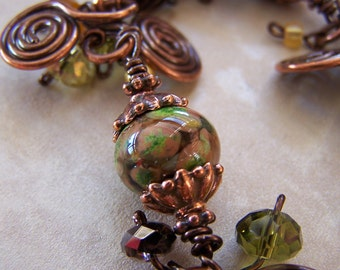 Lampwork beads, crystals and copper bracelet - Harvest Green
