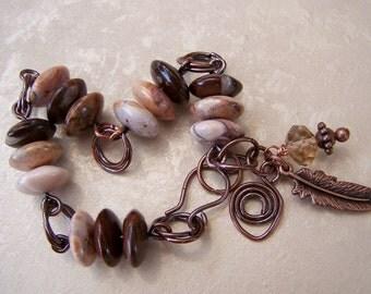 Gemstone and copper bracelet