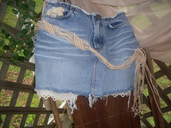 Gypsy hippie boho jean skirt tattered shabby chic