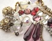 Purple Gold Vintage Jewelry Lot - salvage, upcycle, parts, repair, destash, rhinestone, aurora borealis, clasp, pendant, finding