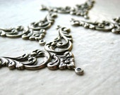 Floral Stamping (4) - pendant, connector, focal, silver, vintage inspired, deco, art noveau