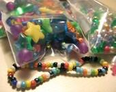 Plastic Rainbow Beads - kids, children, fun shapes, bright colors, jewelry making, jewelry supplies, bead lot, destash, heart, star