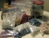 Bead Lot - seed beads, bulk, destash, jewelry making, jewelry supplies, multi colors, ear wires, antique brass, red, blue, green metallic