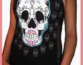 Ladies Custom Altered Diy Day Of The Dead Sexy Halter Top - All Sizes