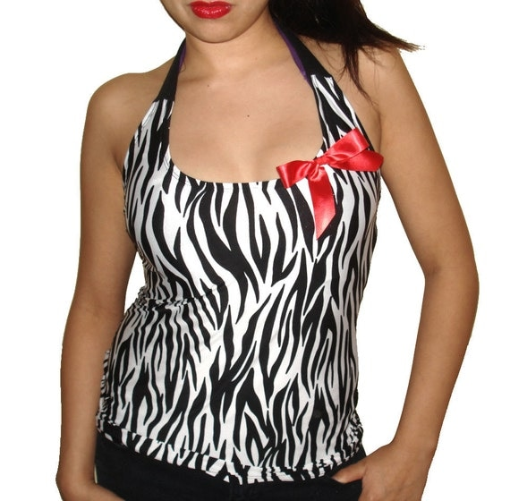 Custom Altered Diy Zebra Print With Red Bow Pin Halter Top