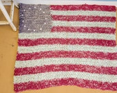 SOLD Patriotic American Flag Rug Mid Century Wall Hanging Folk Art Look