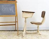 Primitive Industrial Metal School Desk and Chair