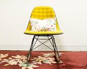 Mustard Yellow Plaid Herman Miller Rocking Chair