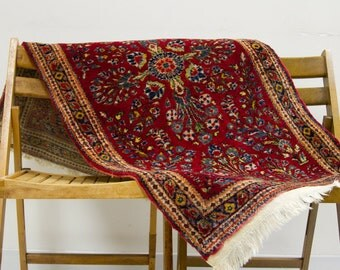 Dark Red Vintage Persian Sarouk Rug