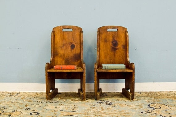 RESERVED Antique Wooden New England Childrens Chair Pair