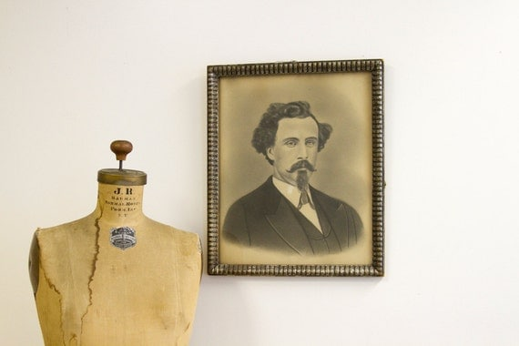 Man With Goatee Antique Charcoal Drawing in Primitive Frame