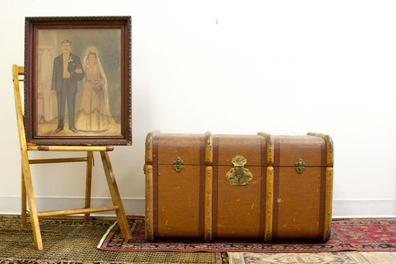 RESERVED Italy to New York Antique Gazzarrini Trunk