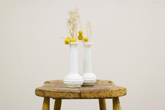 White Hobnail Milk Glass Vase Pair by Brody