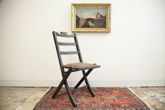 Victorian Folding Chair with Fabric Seat
