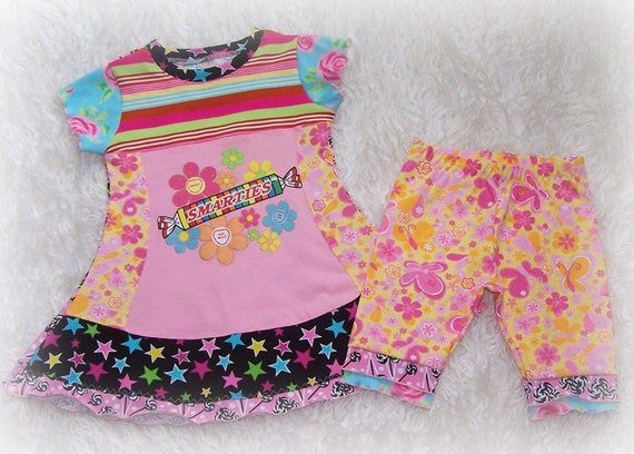 Boutique Custom Smarties Upcycled Upcycle Dress Shorts Set 3 4 5